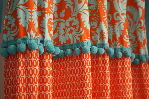 Beautiful Orange And Blue Shower Curtain Images - Best image 3D ...