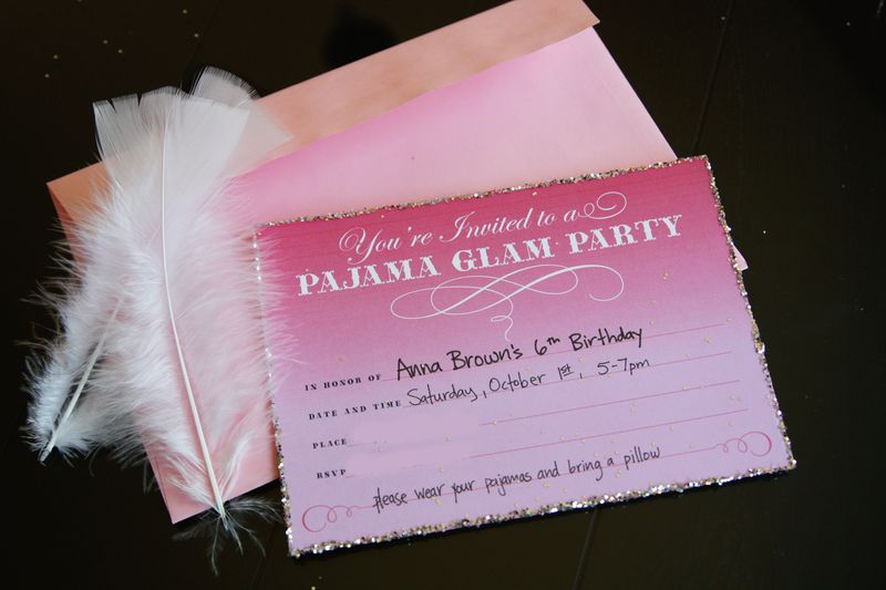find joy in the journey pajama glam party invites and favors