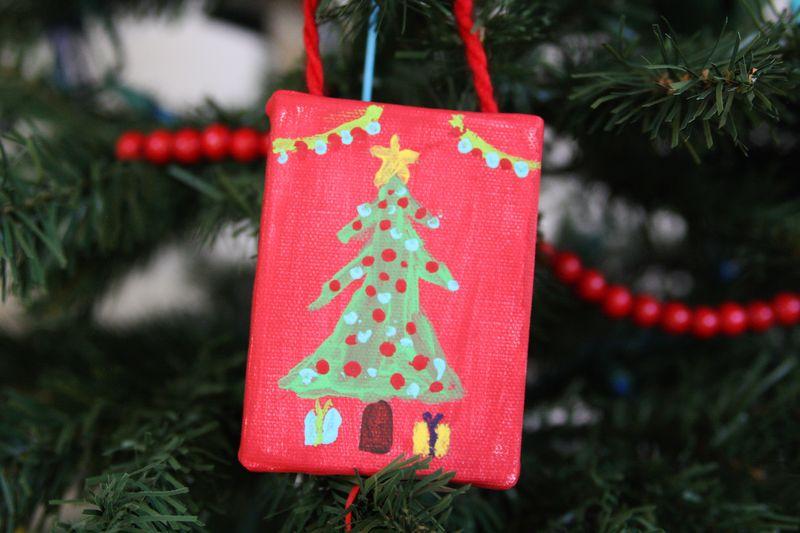 Mini canvas ornament