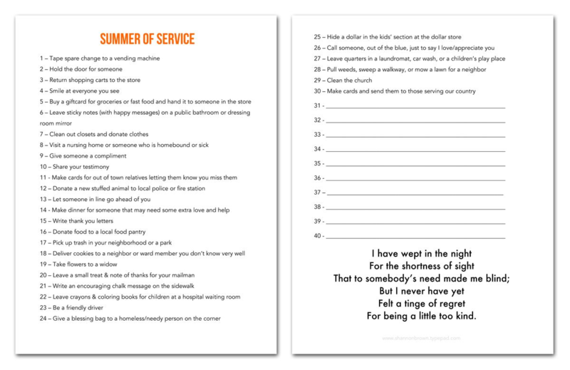 Summer of Service List (Download)  |  Find Joy in the Journey