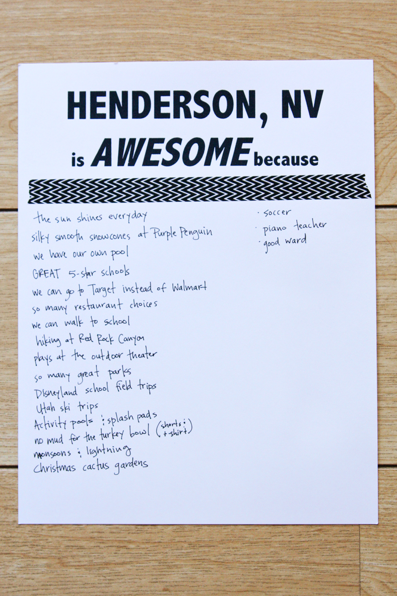 make a list of all the reasons why your town is awesome  // find joy in the journey