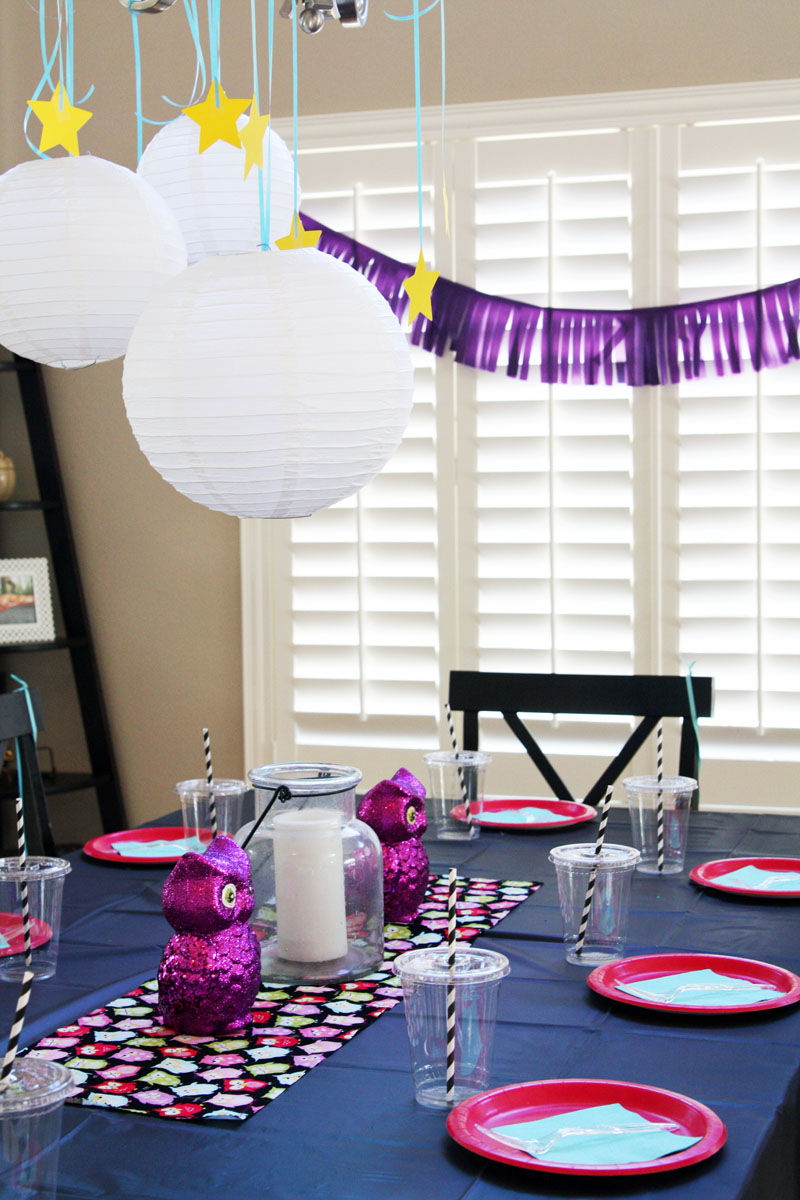 Night Owl Party table decorations | Find Joy in the Journey