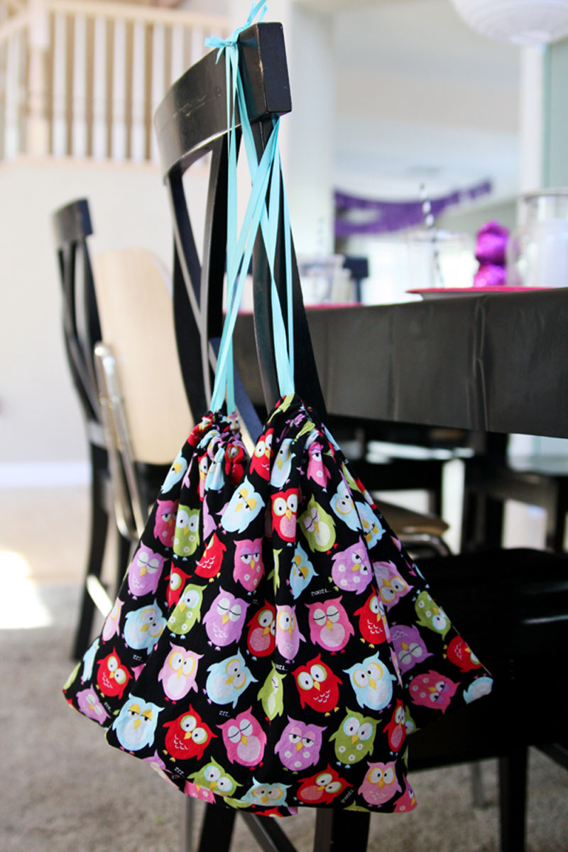 Night Owl Party - drawstring bags to hold party favors.  | Find Joy in the Journey