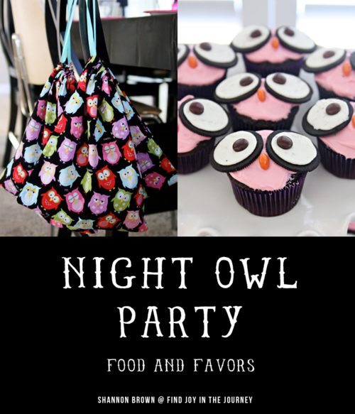 Night Owl Party - Favors and Food  | Find Joy in the Journey