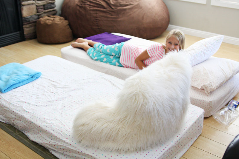 Night Owl Party  - twin mattresses and pillows add to the fun of this mock sleepover | Find Joy in the Journey