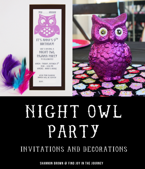 Night Owl Party Invitations and Decorations